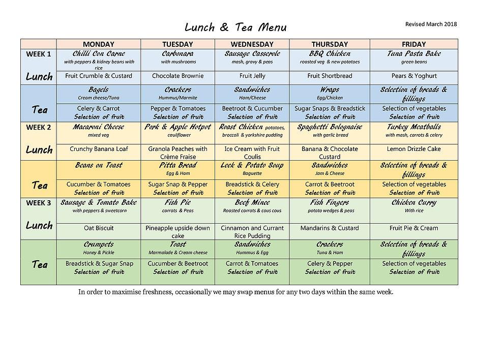 Meal Times & Menus | Quackers Day Nursery & Pre-School