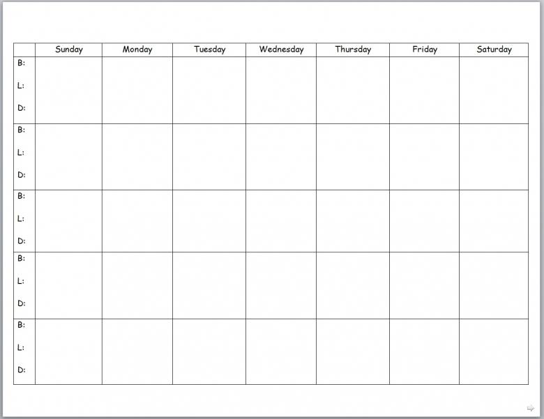 Monday Through Friday Monthly Calendar :-Free Calendar