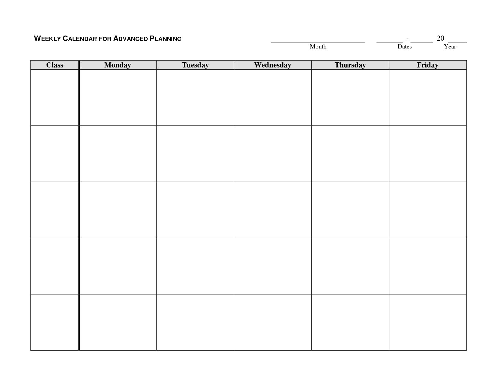Monday Thru Sunday Calendar Template :-Free Calendar Template