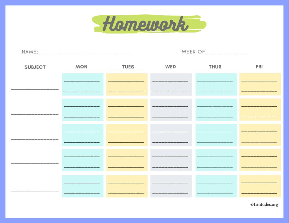 Monday To Friday Homework Chart (Fillable) - Acn Latitudes