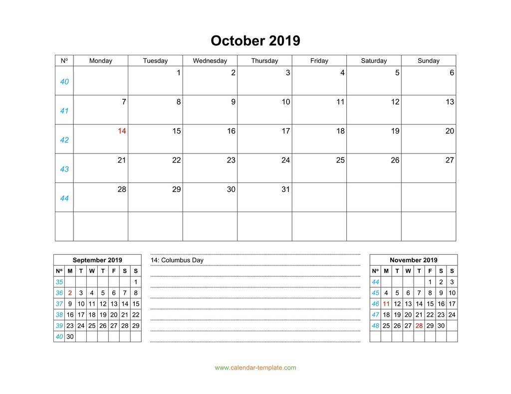 Monday To Friday Monthly Calendar Template   Example