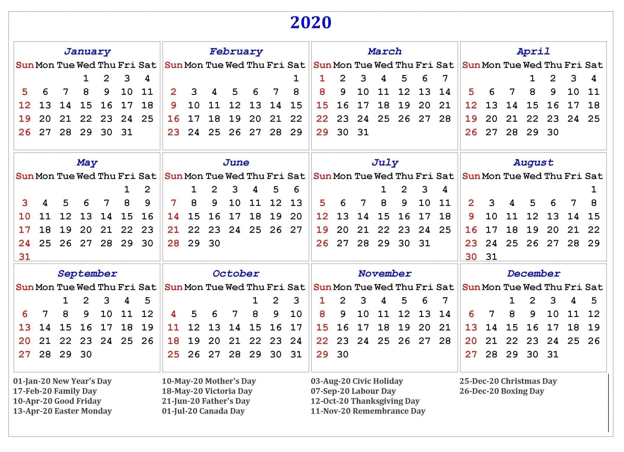 Monday To Sunday Blank Calendar 2020 With Holidays