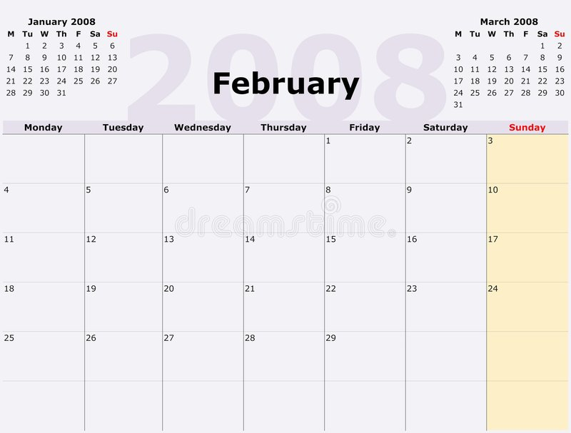 Monday To Sunday Monthly Calen Stock Illustration