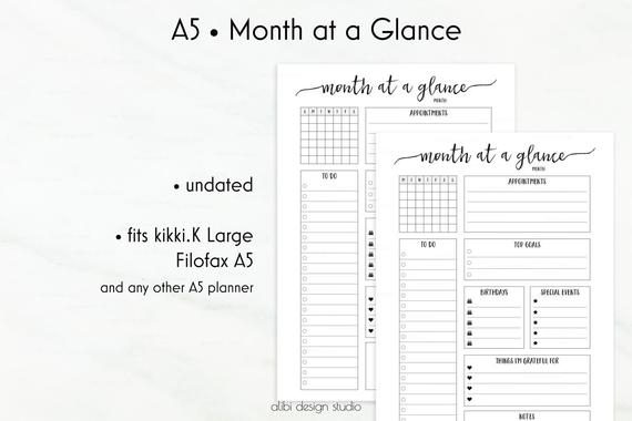 Month At A Glance A5 Planner Inserts Monthly Planner