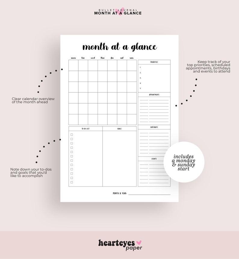 Month At A Glance Printable Bullet Journal Printable