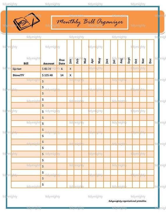 Monthly Bill Organizer / Tracker Printable Pdf Instant
