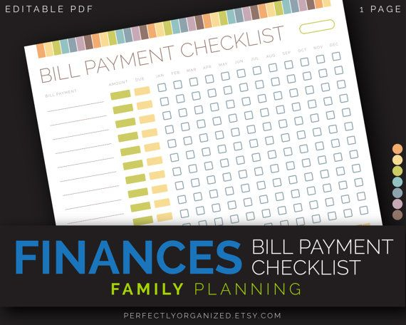 Monthly Bill Payment Tracker, Bills Due Date Checklist