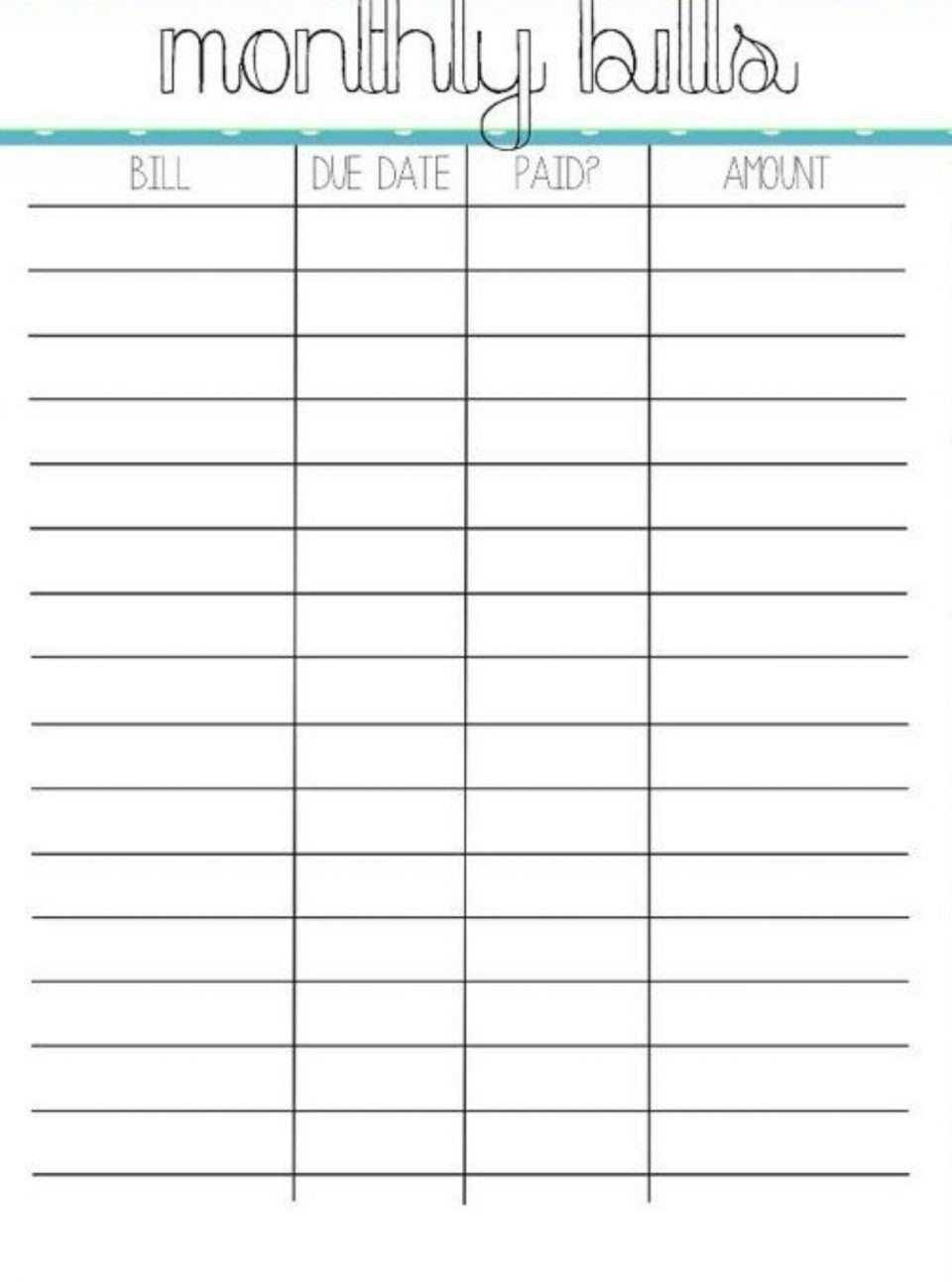 Monthly Bill Payment Worksheet Printable - Template