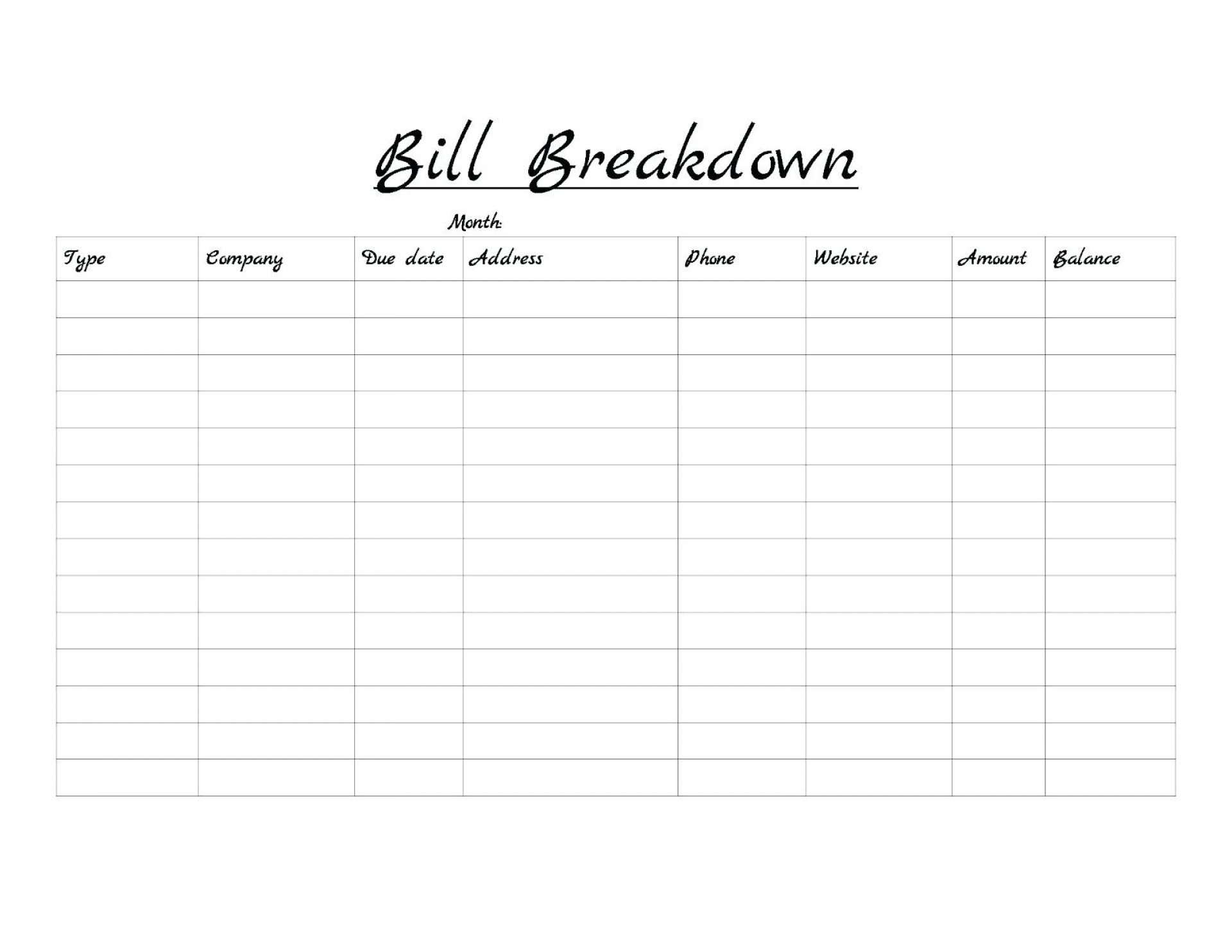 Monthly Bill Template Free Printable | Calendar Template