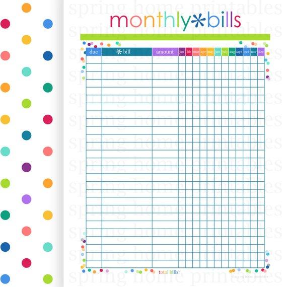 Monthly Bills Budget Planner Printablespringhomeprintables