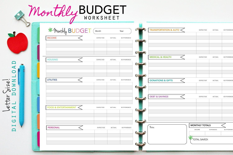 Monthly Budget Worksheet Printable — Db-Excel