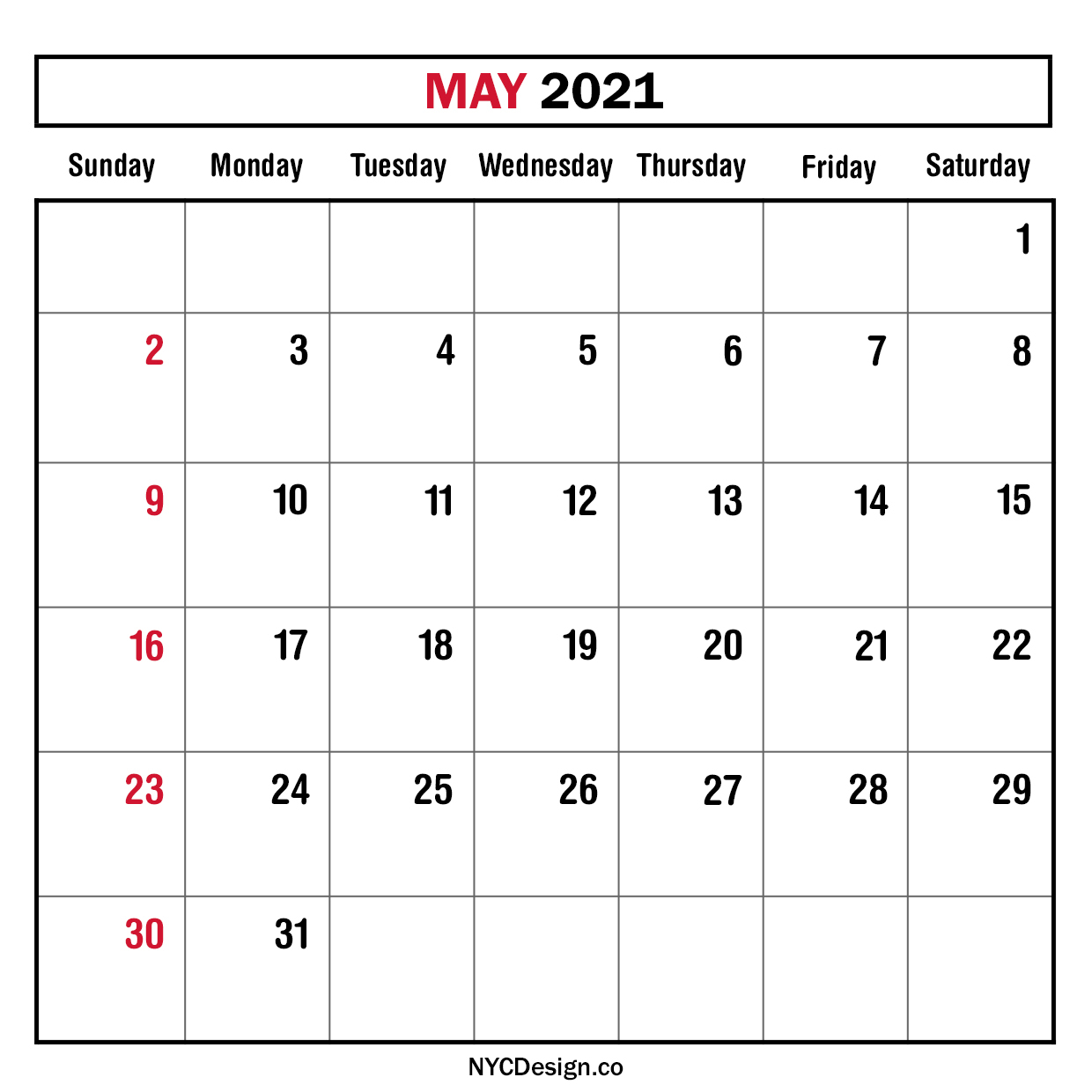 Monthly Calendar May 2021, Monthly Planner, Printable Free