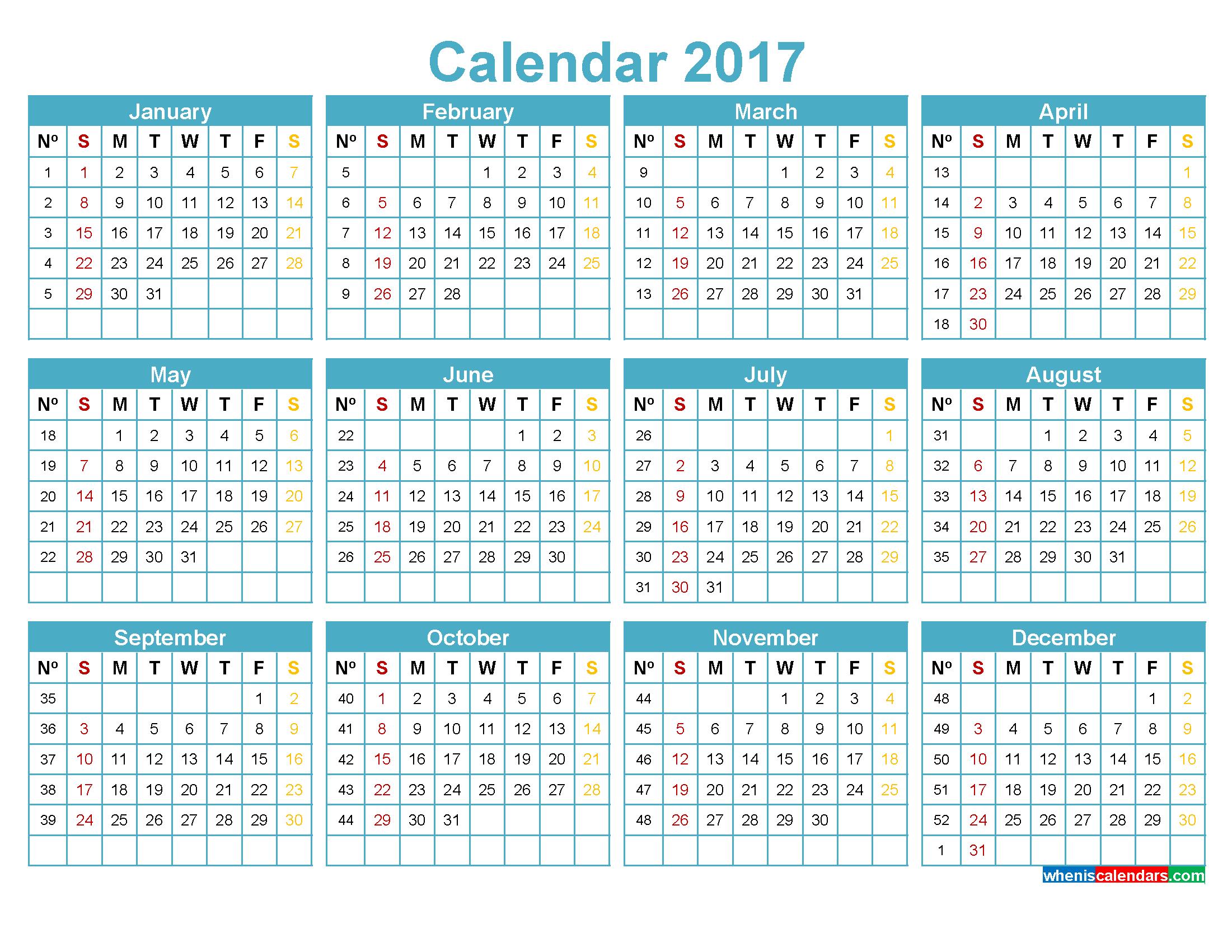 Monthly Calendar With Week Numbers Excel | Free Printable