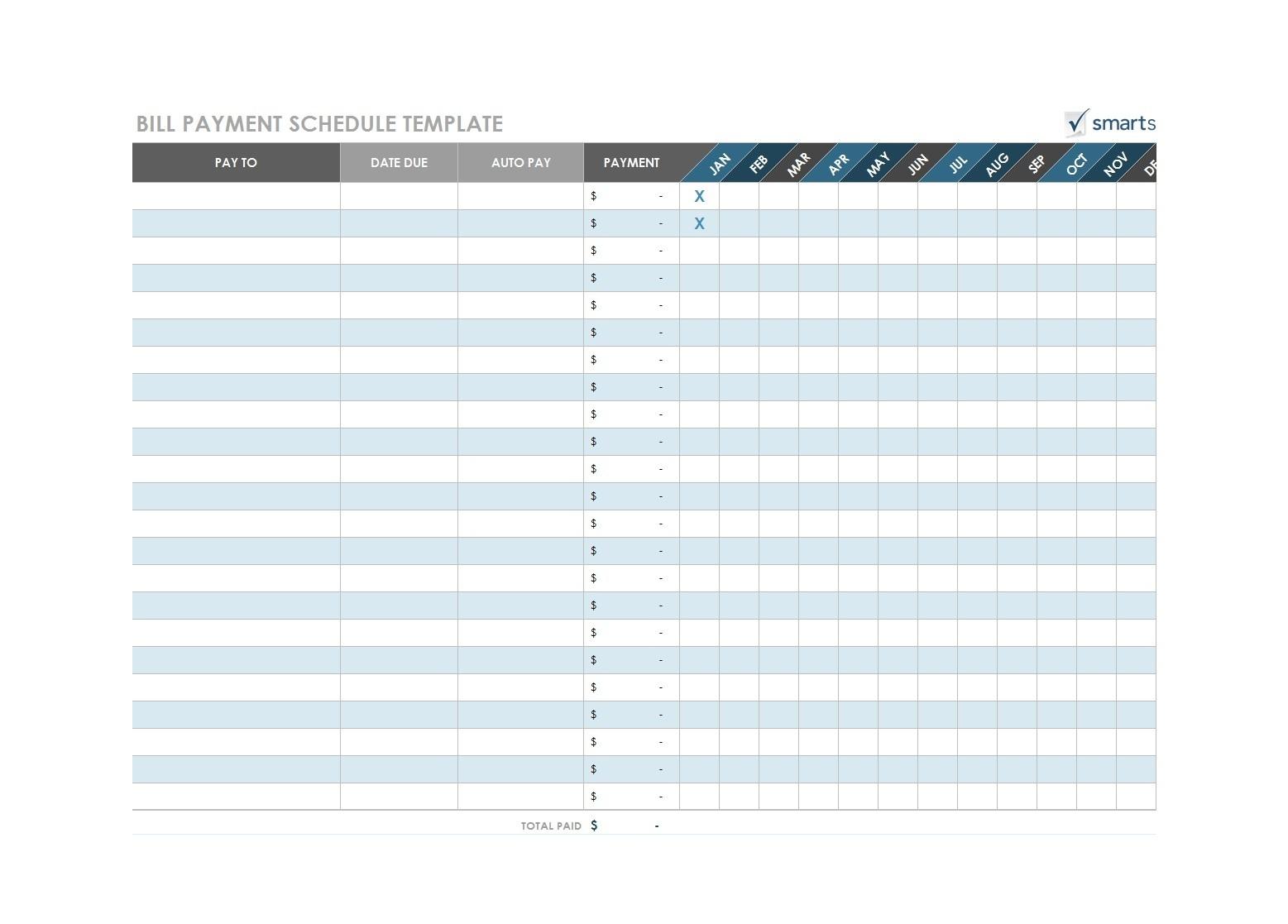 Monthly Payment Sheet Pdf - Template Calendar Design