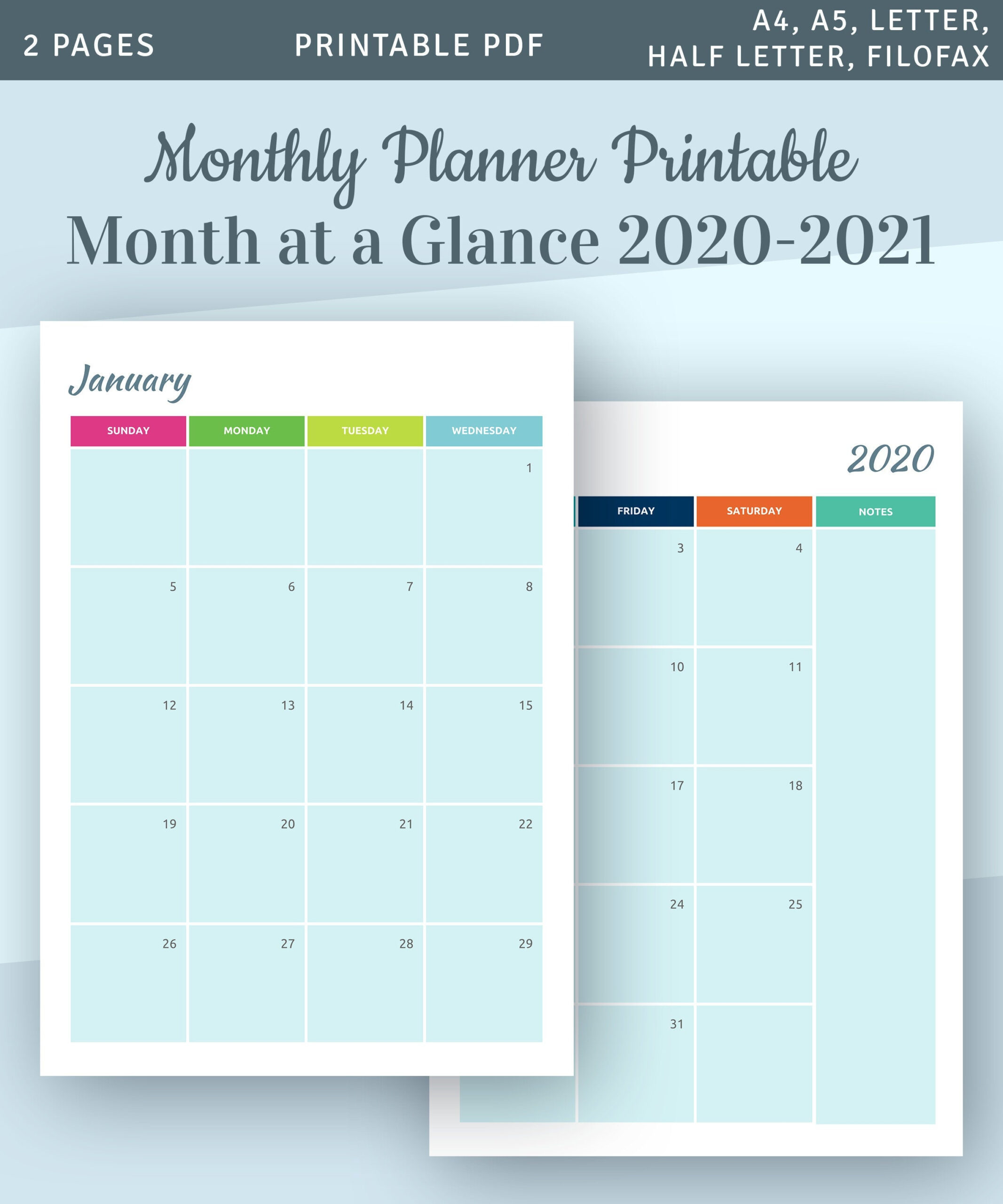 Monthly Planner Printable Month At A Glance 2020 Calendar