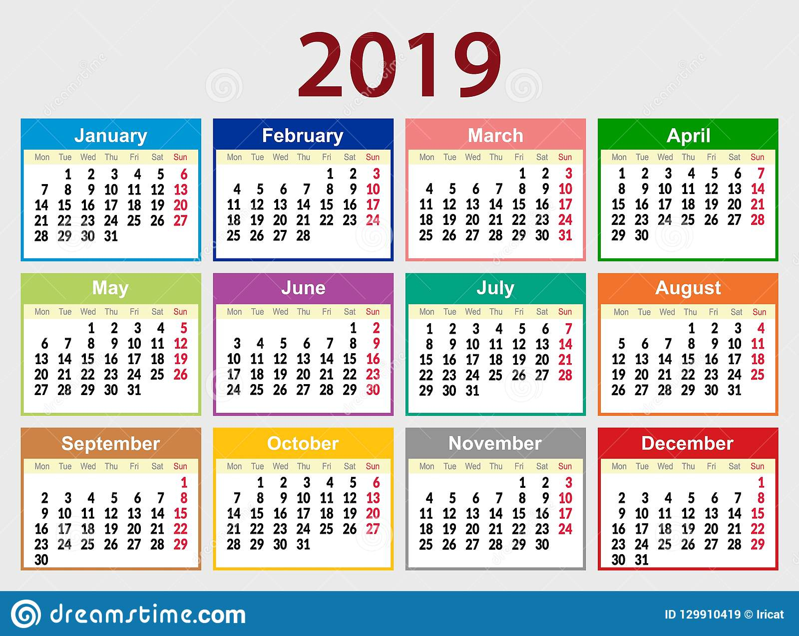 Multicolored Calendar Grid For 2019 In English. The Week