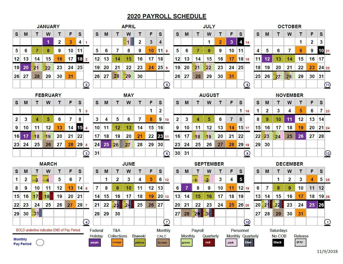 Nfc Pay Period Calendar 2020   Calendar Template 2020