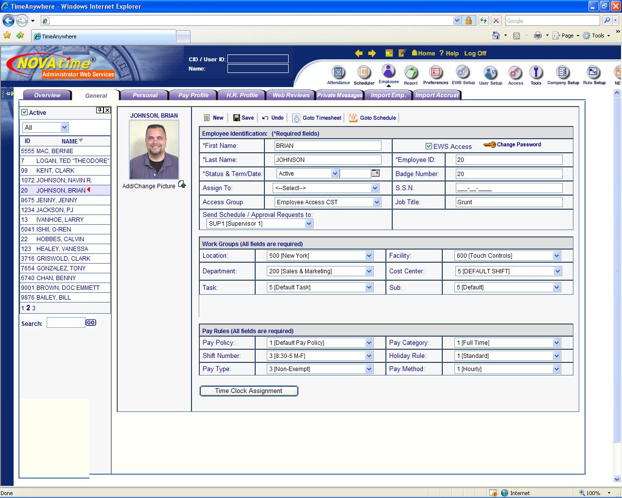 Novatime 4000 Web Time And Attendance System - Time Clocks