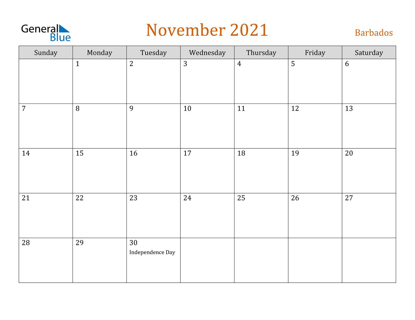 November 2021 Calendar - Barbados