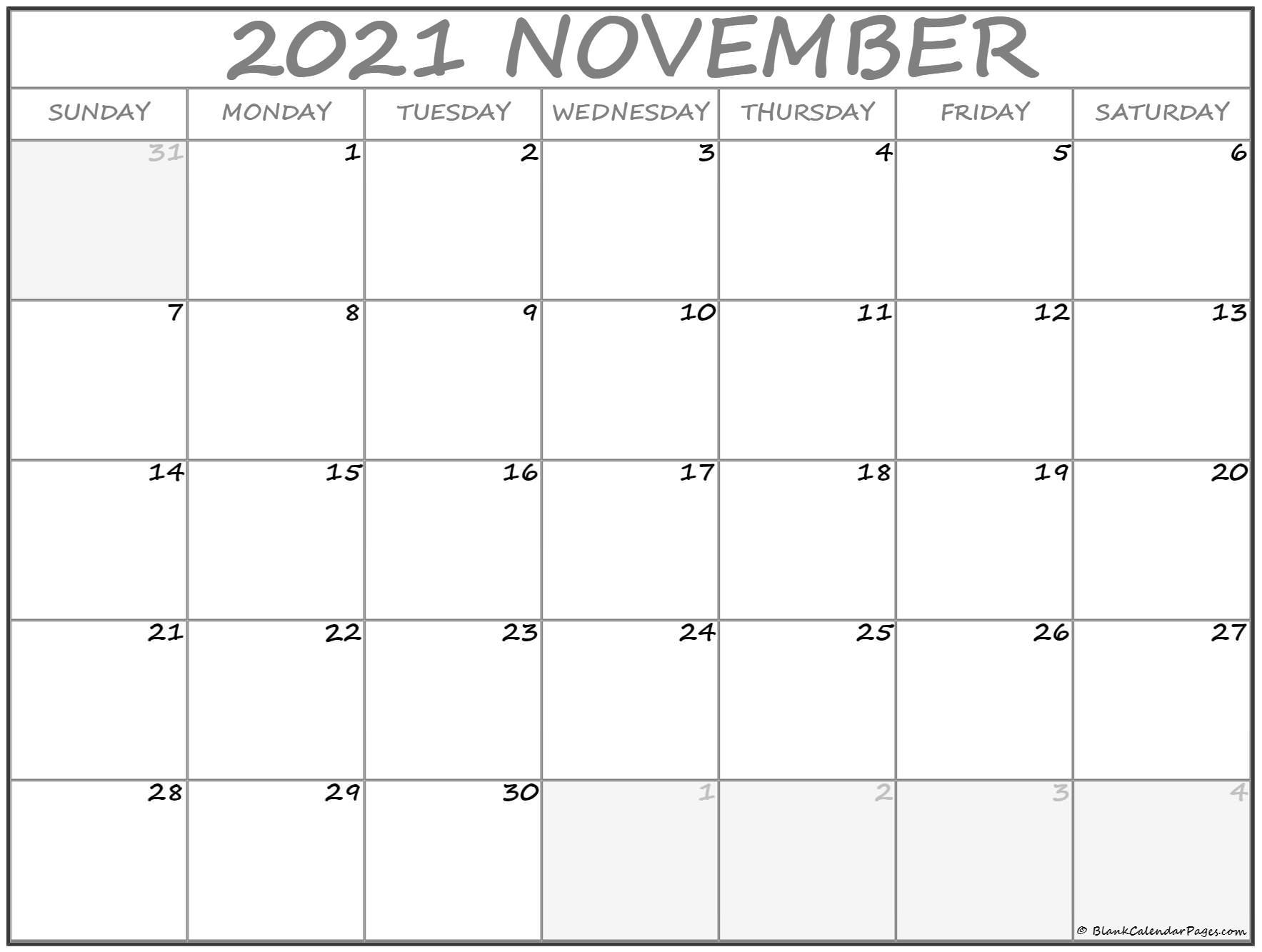 November 2021 Calendar | Free Printable Calendar Templates