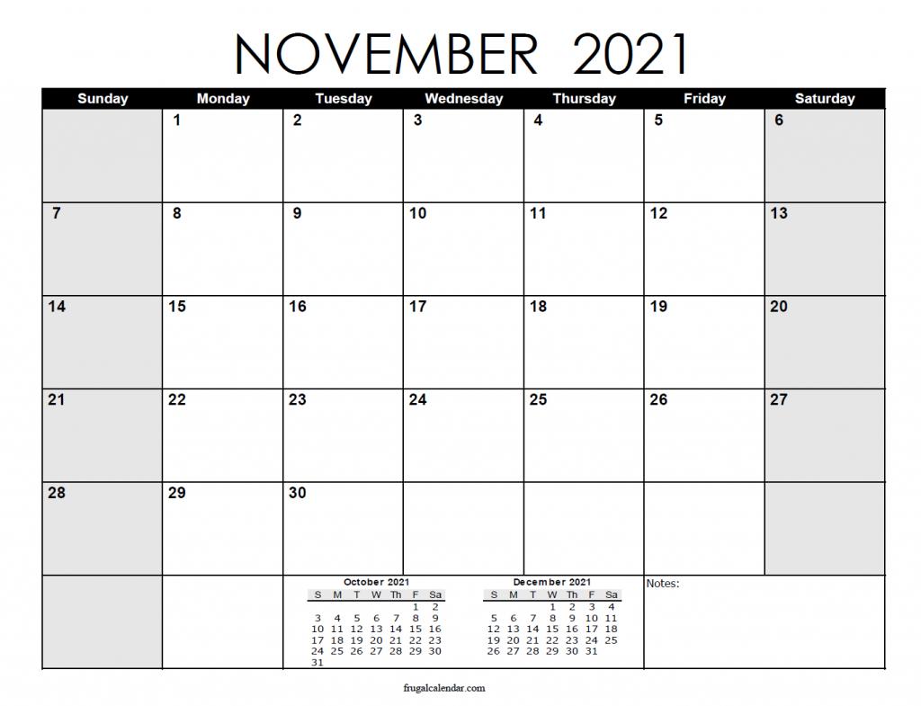 November Calendar 2021 | 2021 Calendars Printable