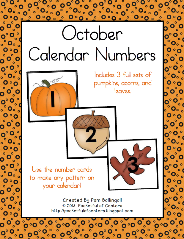 October Calendar Numbers | Calendar Numbers, October