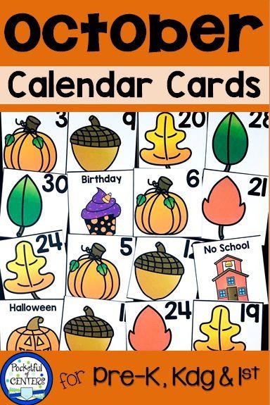 October Calendar Numbers | Kindergarten Calendar, Calendar