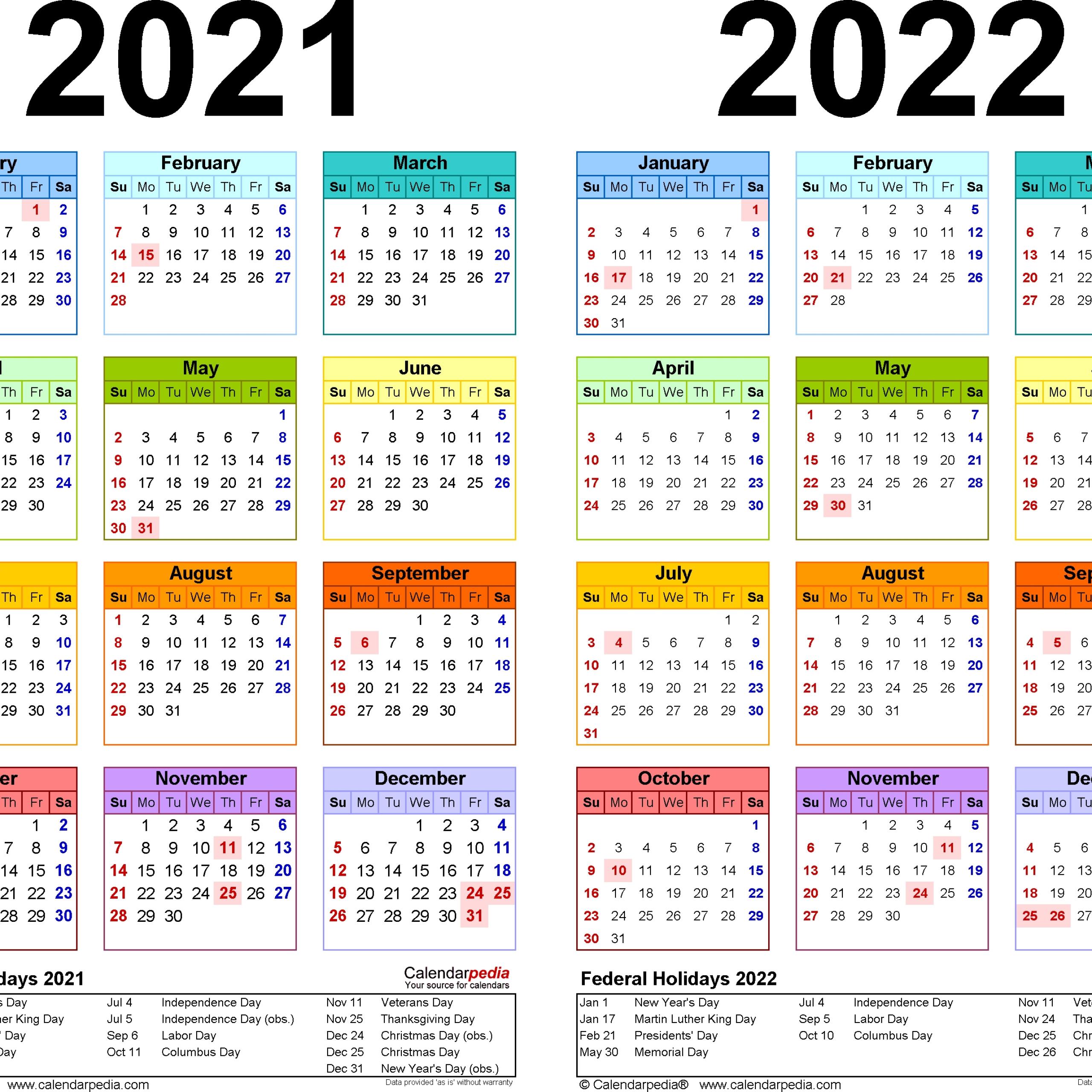 Online Printable Calendar 2021 2 Years | Avnitasoni