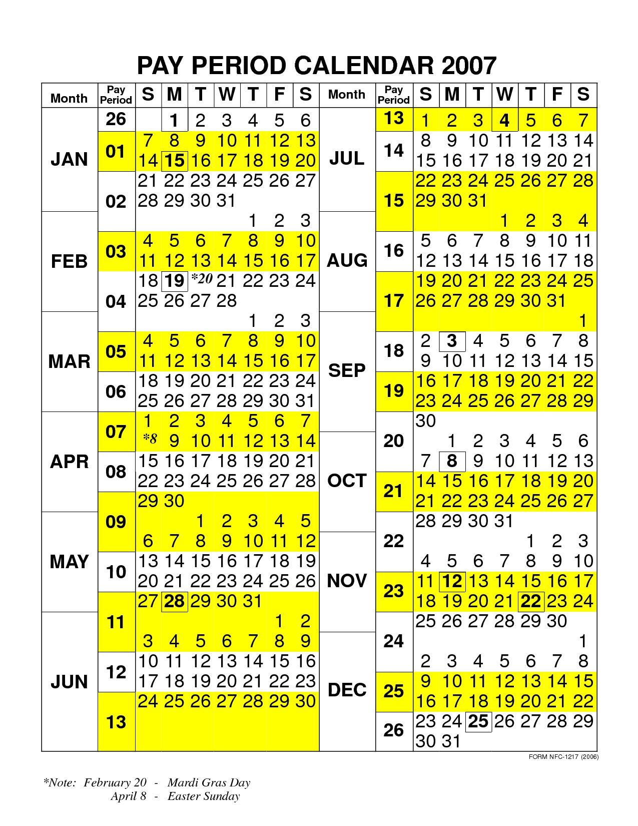 Pay Period Calendar 2020 Nfc | Payroll Calendar 2020