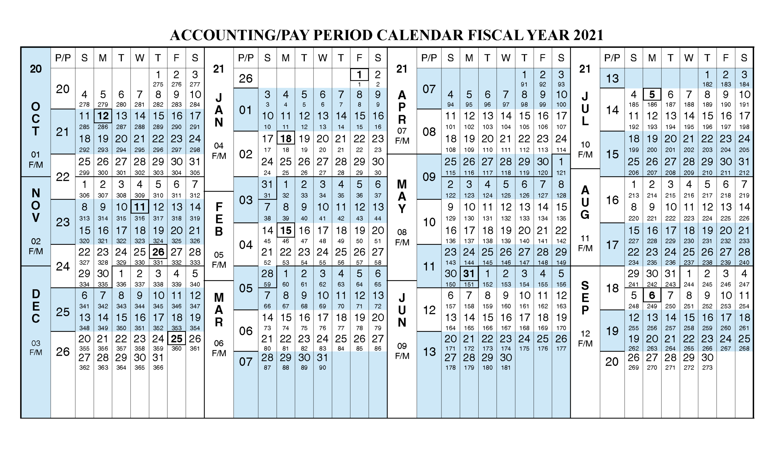 Payroll Calendar 2021 Fiscal Year Calendar [ Oct 2020