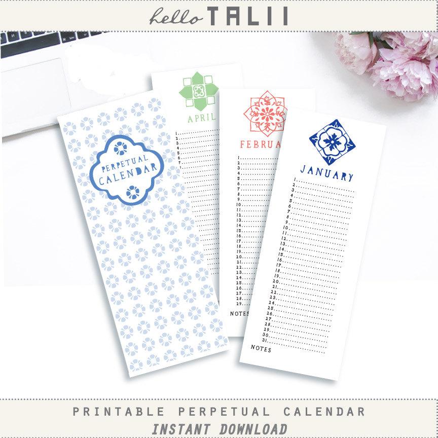 Perpetual Birthday Calendar Printable Calendar Hand Drawn