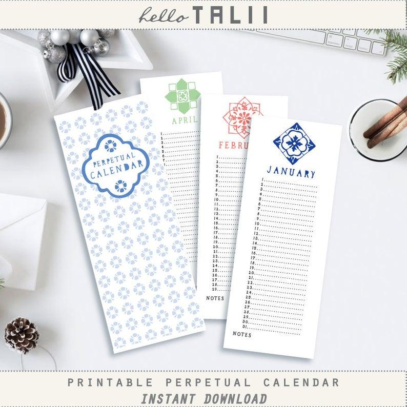 Perpetual Birthday Calendar Printable Perpetual Calendar