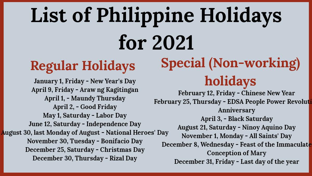 Philippine Holidays 2021: List Of Regular & Special