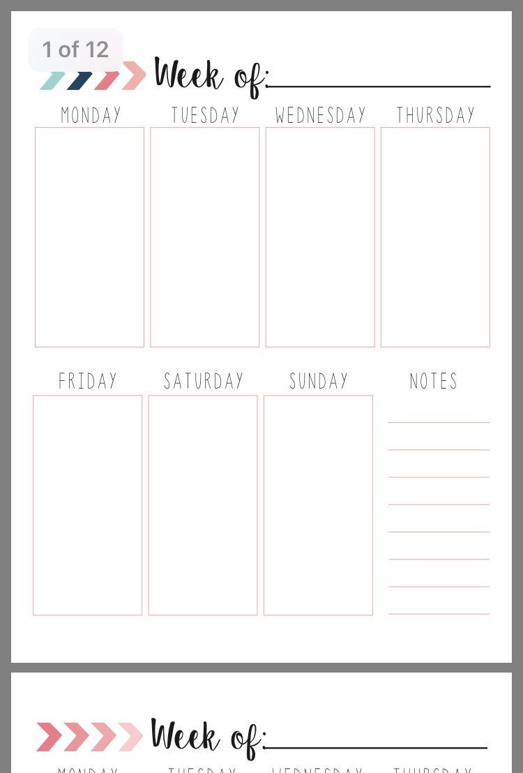 Pinteressa_ On Calender   Weekly Calendar Planner