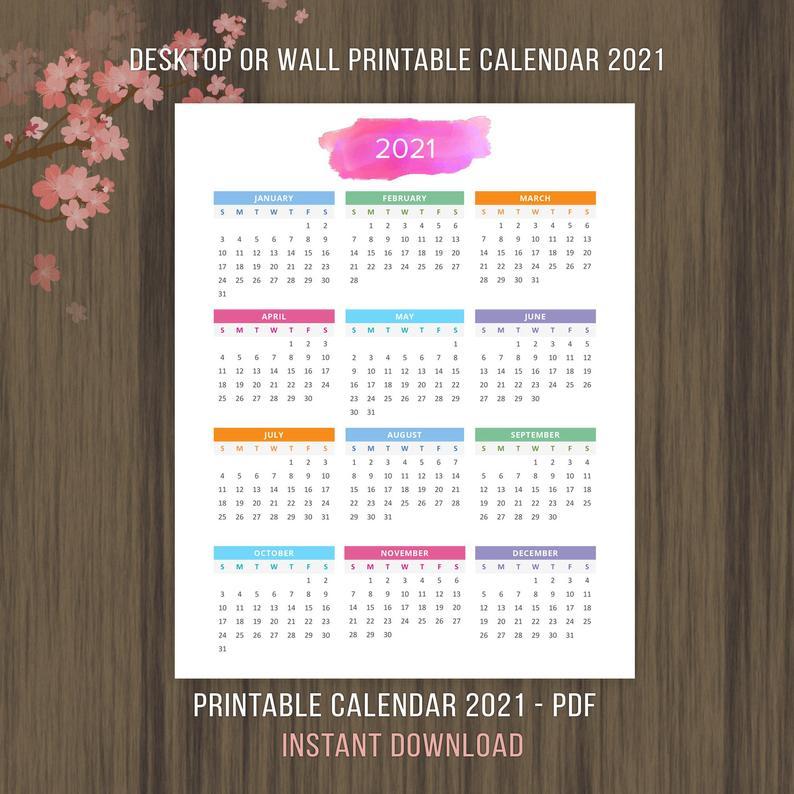 Planner Printable Calendar 2020 2021 Desktop Calendar Wall