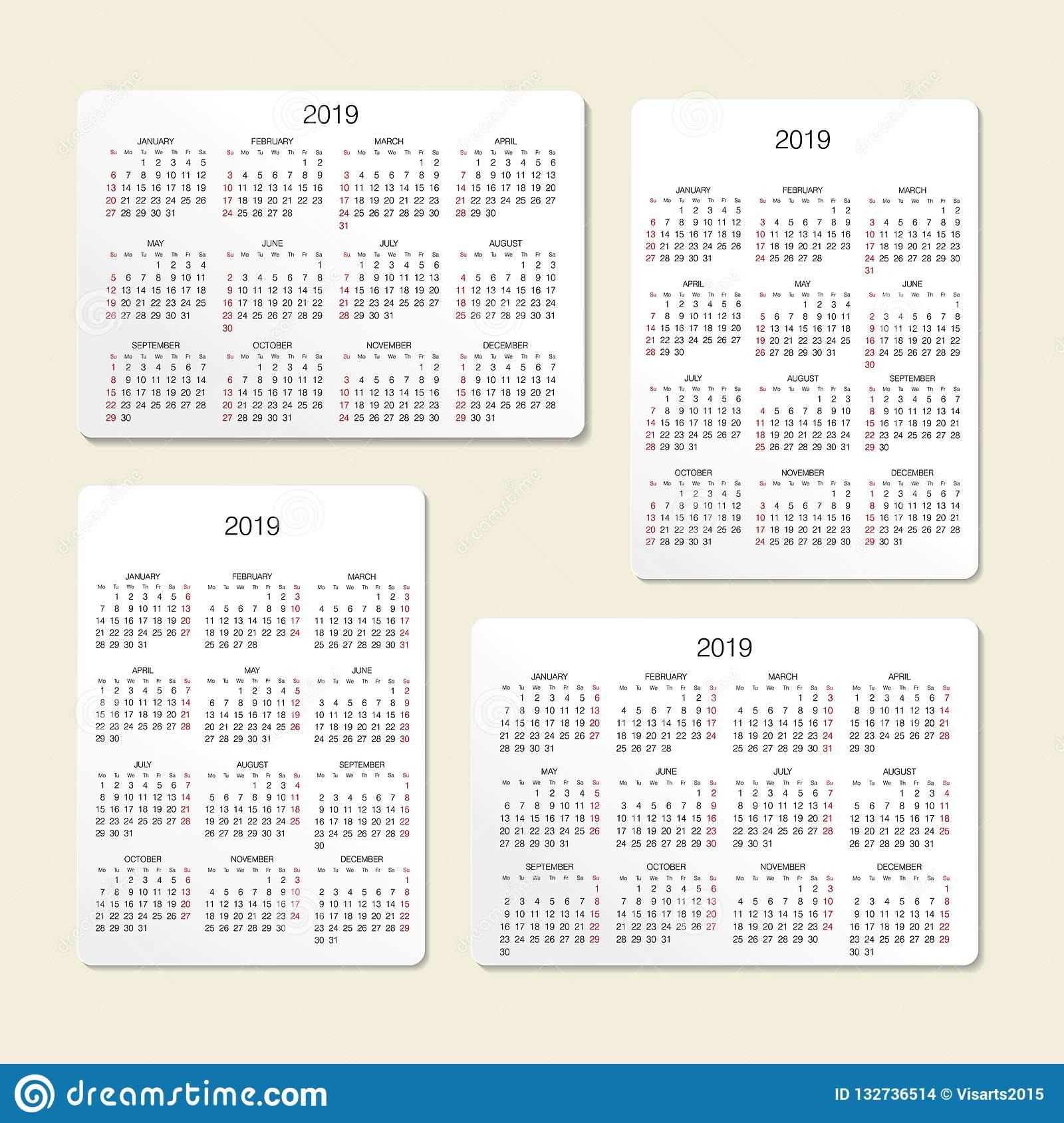 Pocket Calendar. 2019 Calendar. Vector Print Template
