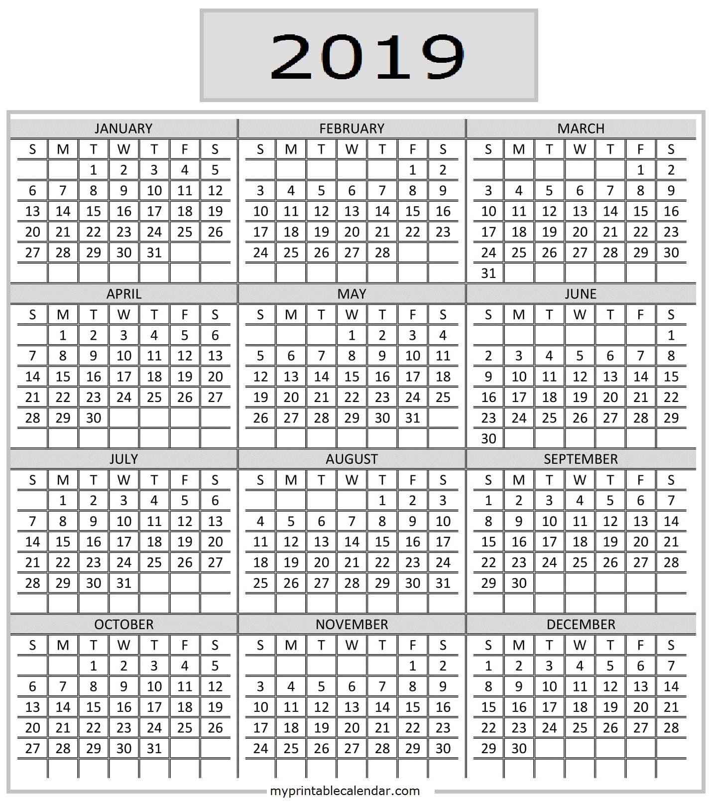 Pocket Calendar 2019 Printable | Calendar 2019 Printable