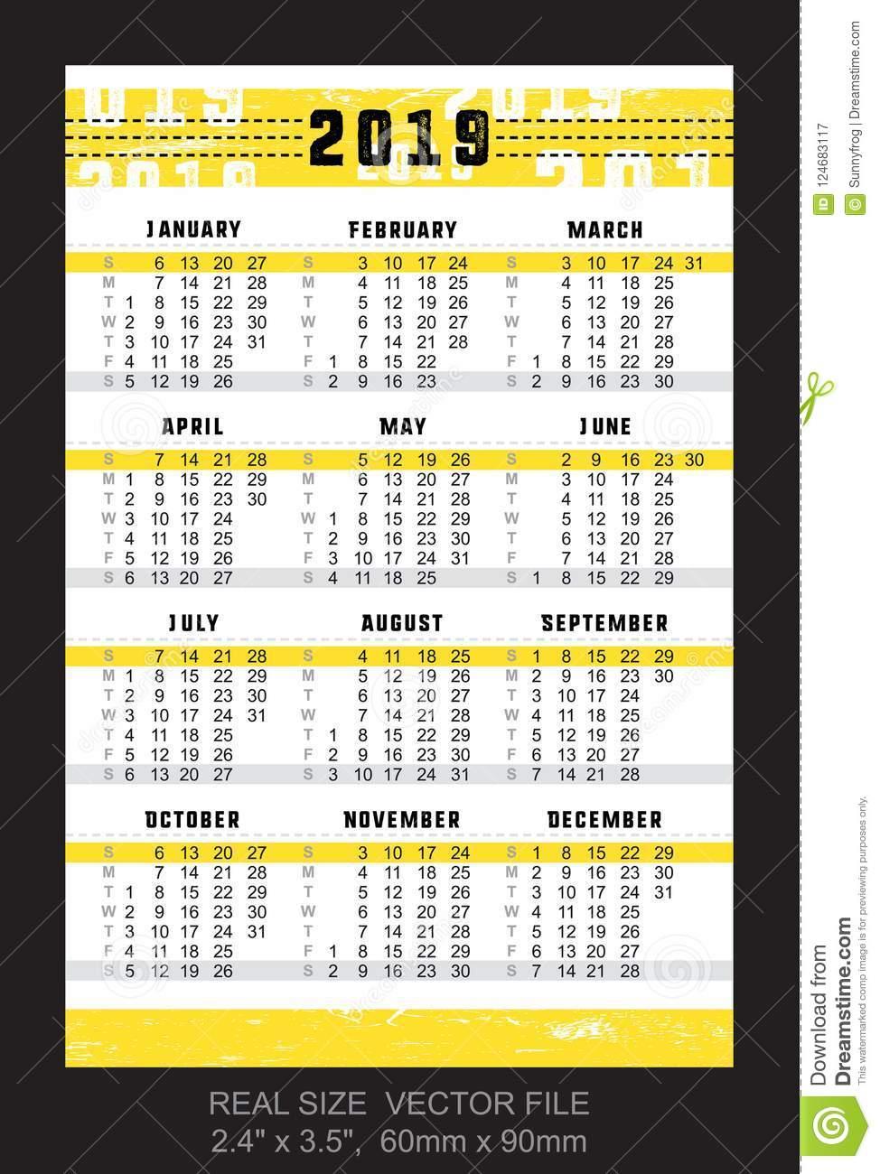 Pocket Calendar 2019, Start On Sunday, Vector Stock Vector