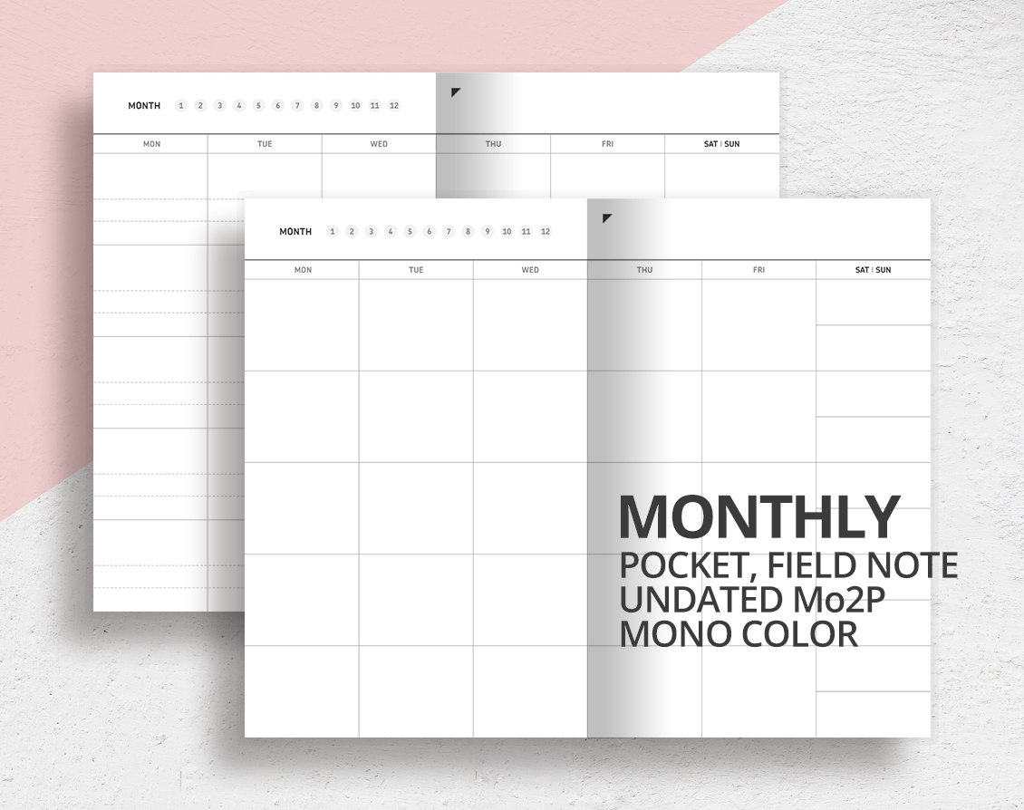 Pocket Field Note Size Monthly Insert/Mo2P/Printable Undated