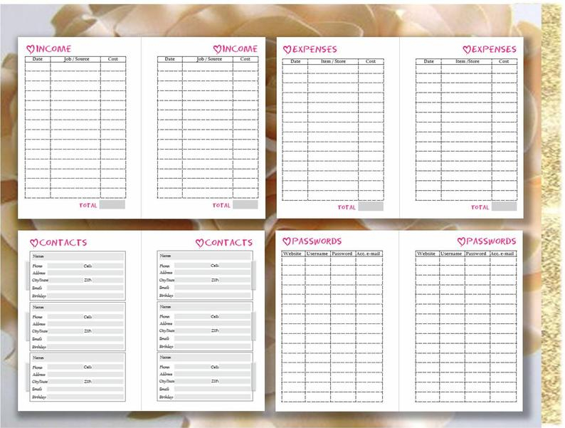 Pocket Planner Inserts Pocket Size Filofax Calendar