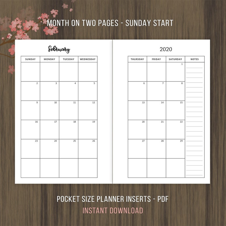 Pocket Size 2020 Monthly Calendar Month On 2 Pages Mo2P | Etsy