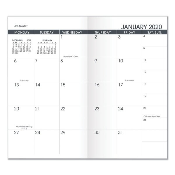 Pocket Size Monthly Planner Refill, 6 1/8 X 3 1/2, White