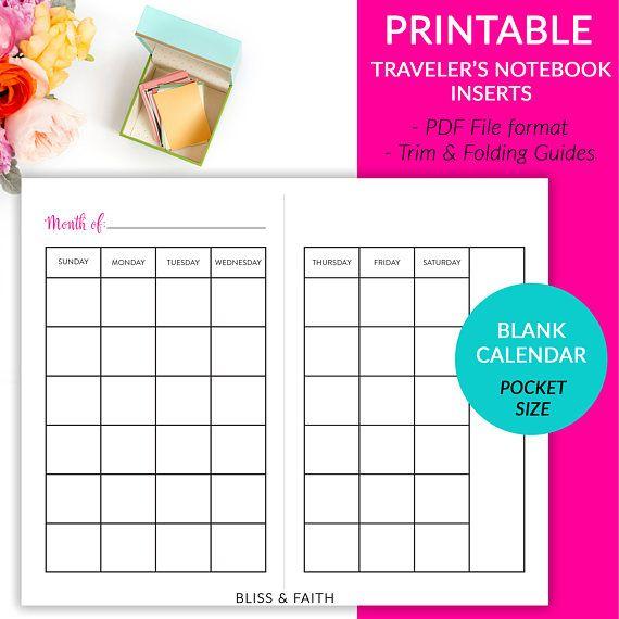 Pocket Sized Blank Month On 2 Pages Calendar Sunday Start