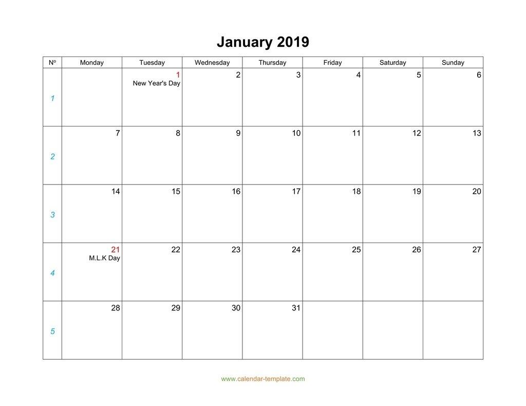 Print Calender Start Monday Blank | Example Calendar Printable