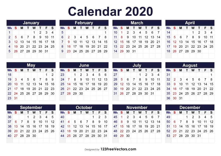 Printable 2020 Calendar With Week Numbers | Calendar With