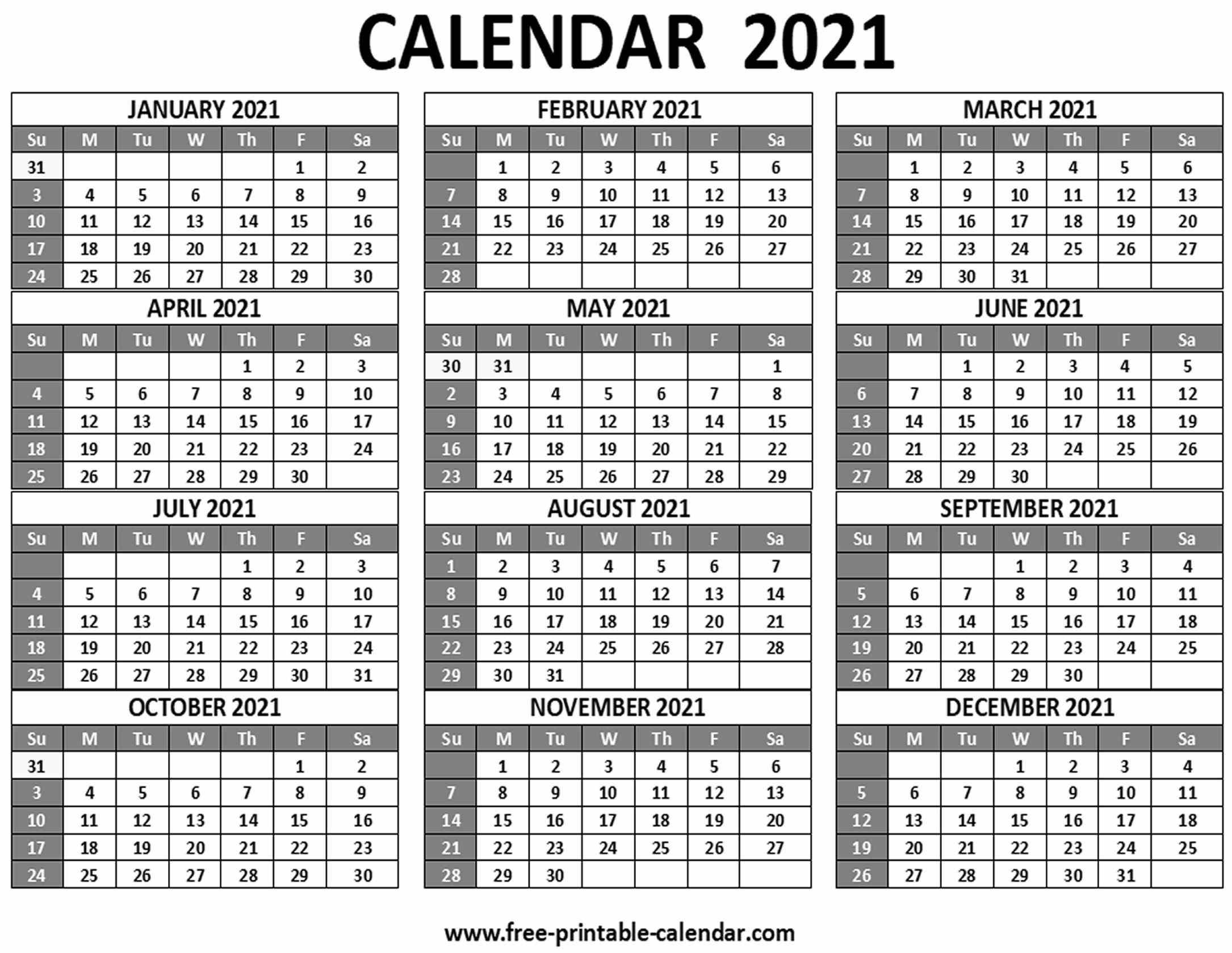 Printable 2021 Calendar - Free-Printable-Calendar