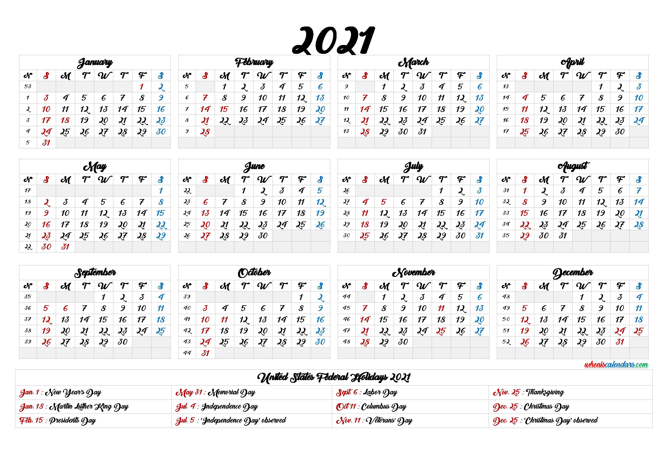 Printable 2021 Calendar One Page - 9 Templates