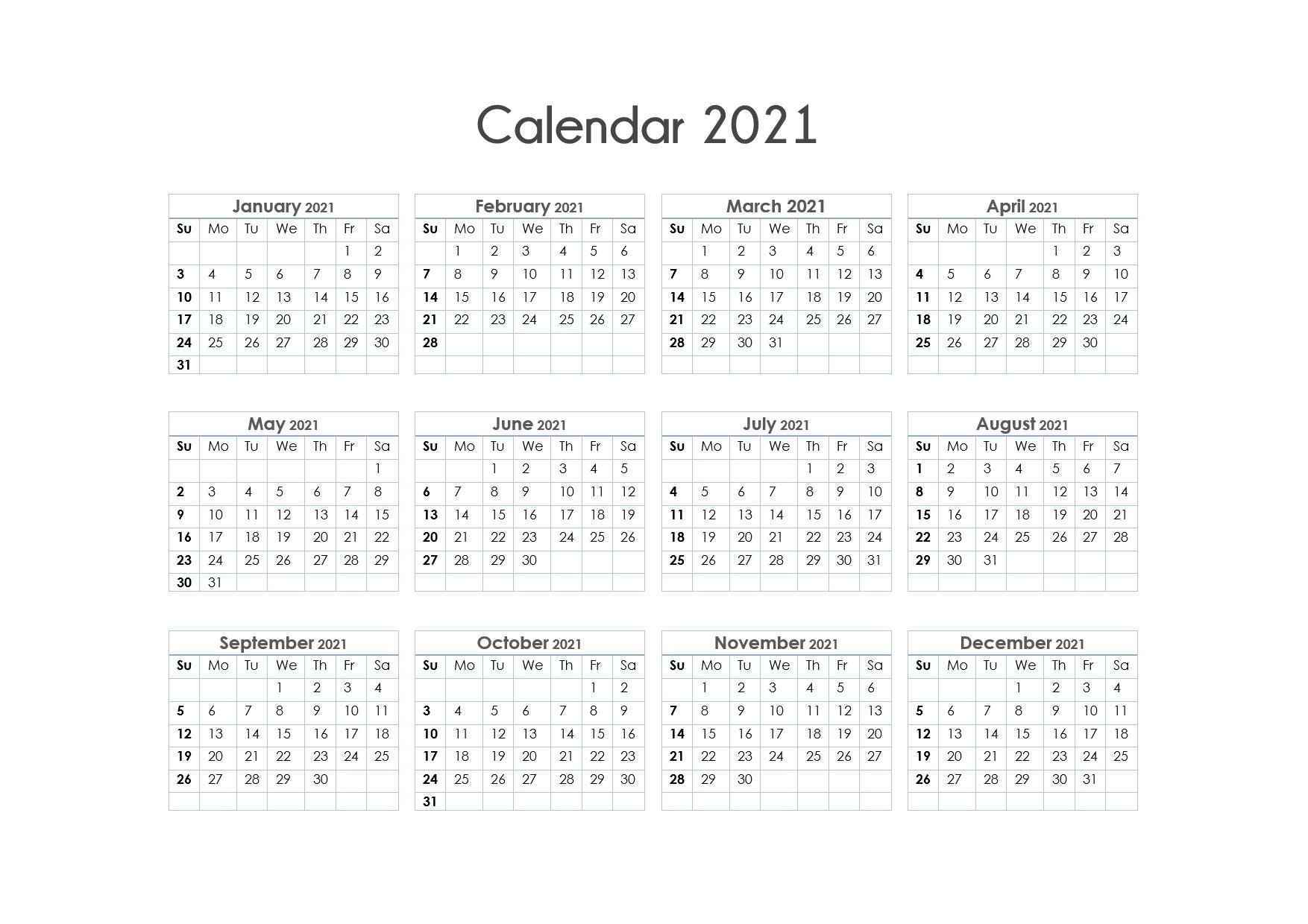 Printable 2021 Calendars Free Printable | Month Calendar
