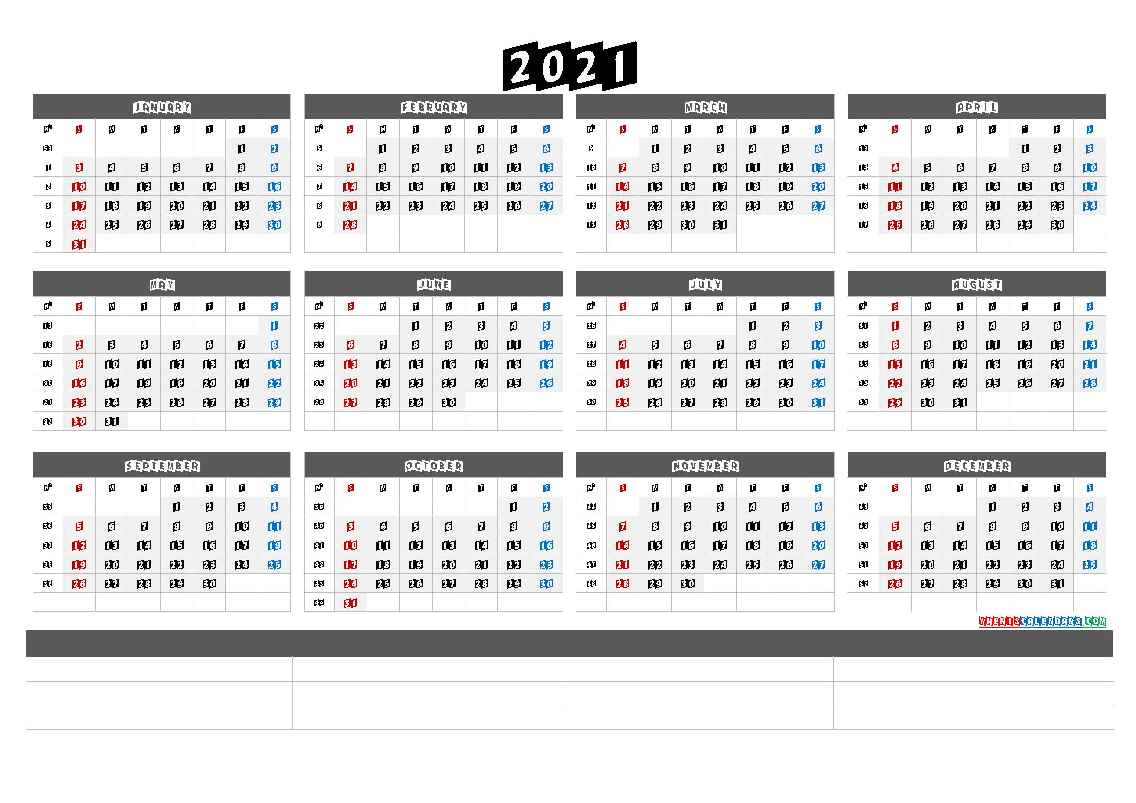 Printable 2021 Yearly Calendar With Week Numbers - Calendraex