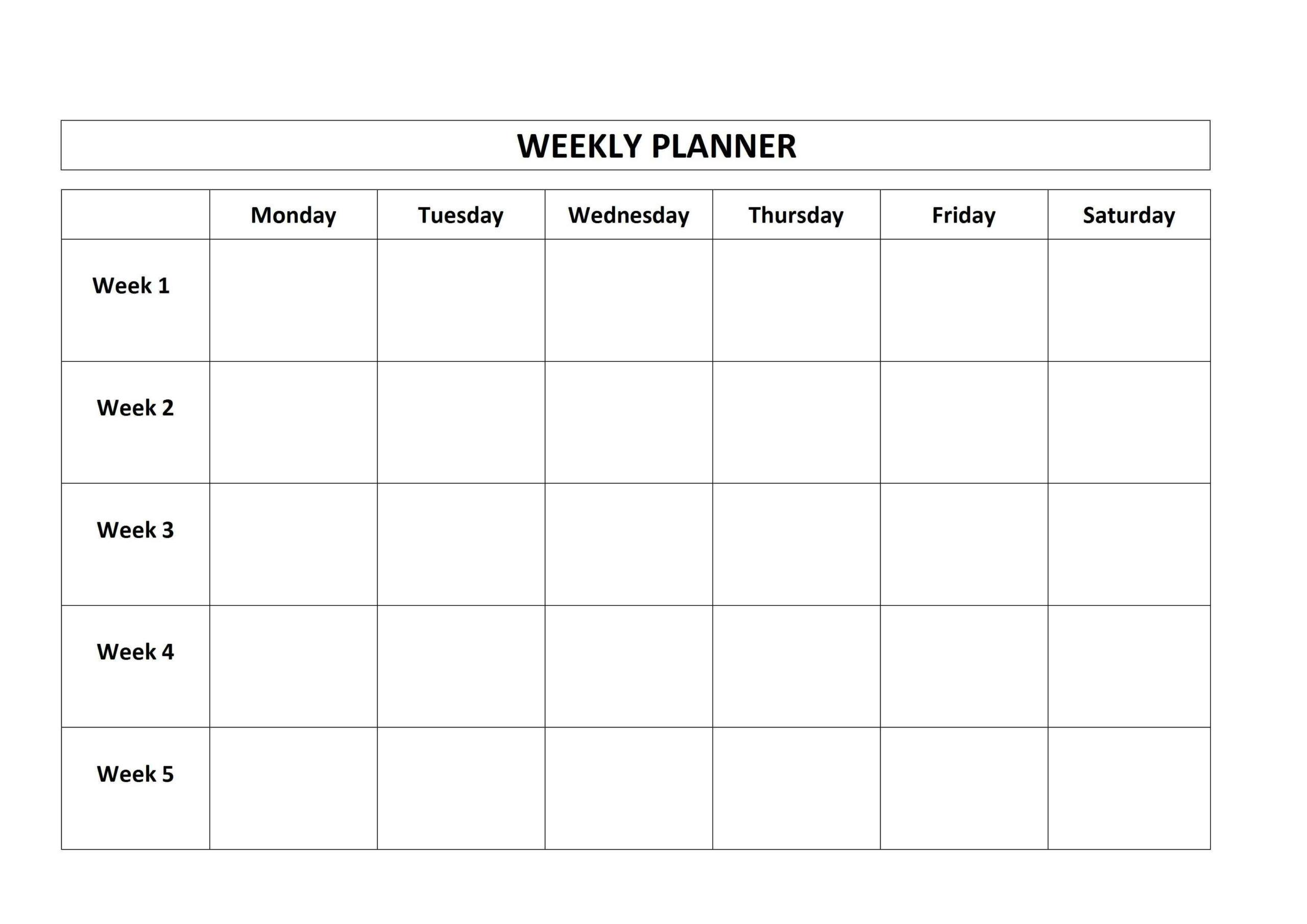 Printable Blank Monday Through Friday Calendars   Calendar